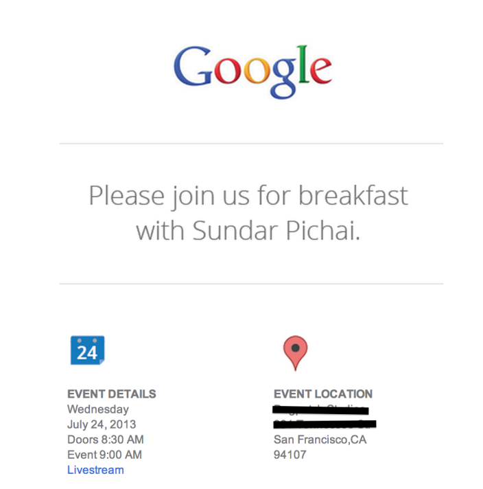 Breakfast de Google
