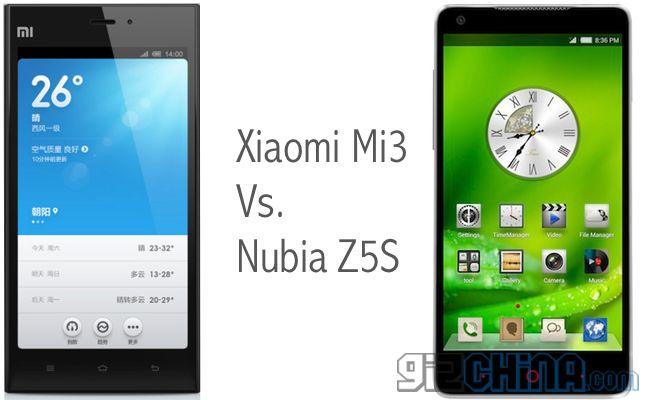 Xiaomi Mi3 vs ZTE Nubia Z5S